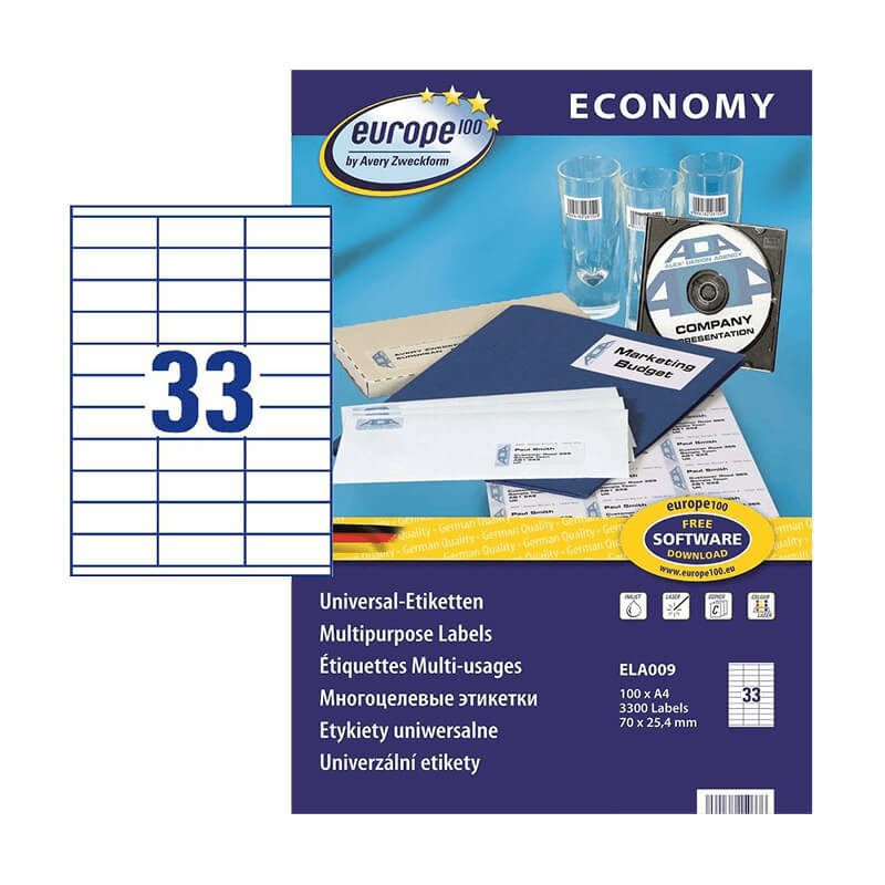 70*25,4 mm-es Avery Zweckform A4 íves etikett címke, fehér színű (100 ív/doboz)