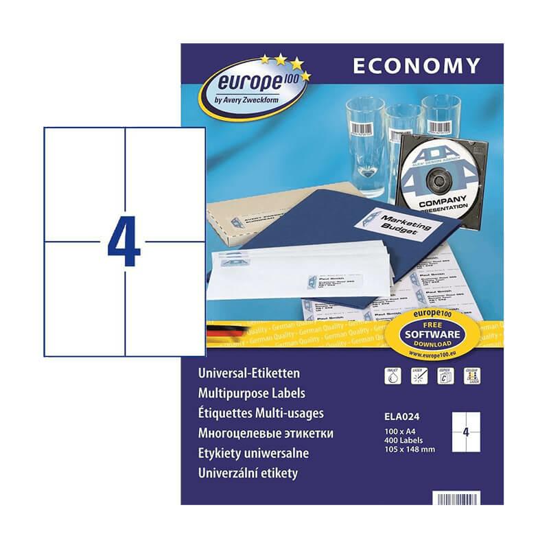 105*148 mm-es Avery Zweckform A4 íves etikett címke, fehér színű (100 ív/doboz)