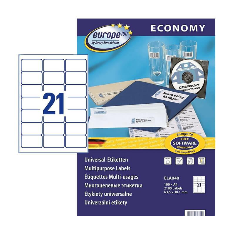 63,5*38,1 mm-es Avery Zweckform A4 íves etikett címke, fehér színű (100 ív/doboz)