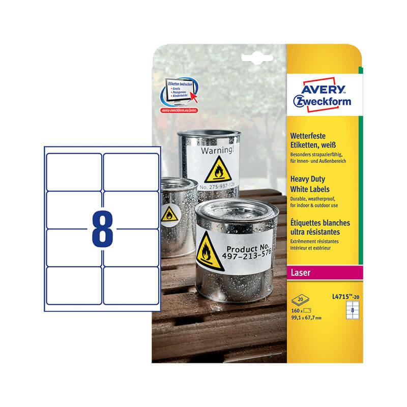 99,1*67,7 mm-es Avery Zweckform A4 íves etikett címke, fehér színű (20 ív/doboz)