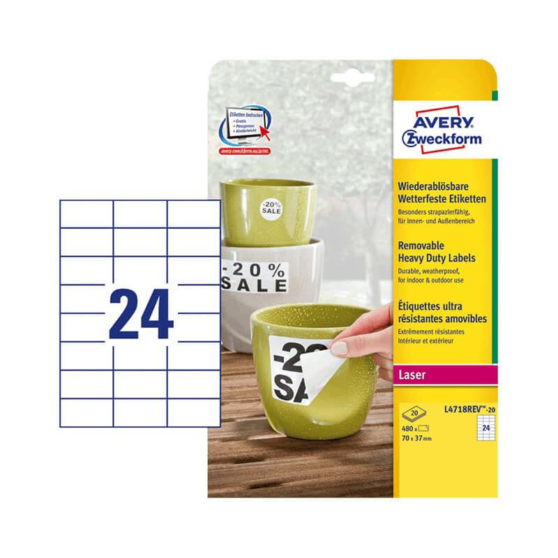 70*37 mm-es Avery Zweckform A4 íves etikett címke, fehér színű (20 ív/doboz)