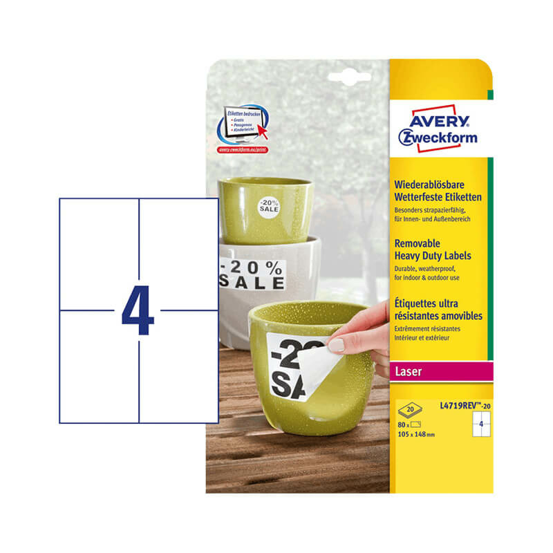 105*148 mm-es Avery Zweckform A4 íves etikett címke, fehér színű (20 ív/doboz)