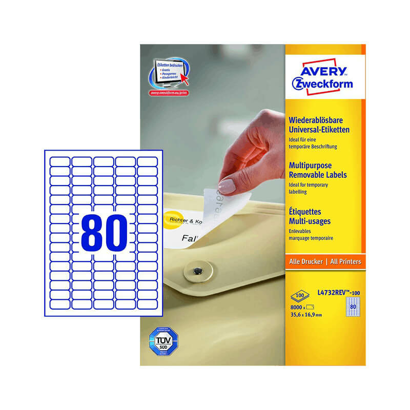 35,6*16,9 mm-es Avery Zweckform A4 íves etikett címke, fehér színű (100 ív/doboz)