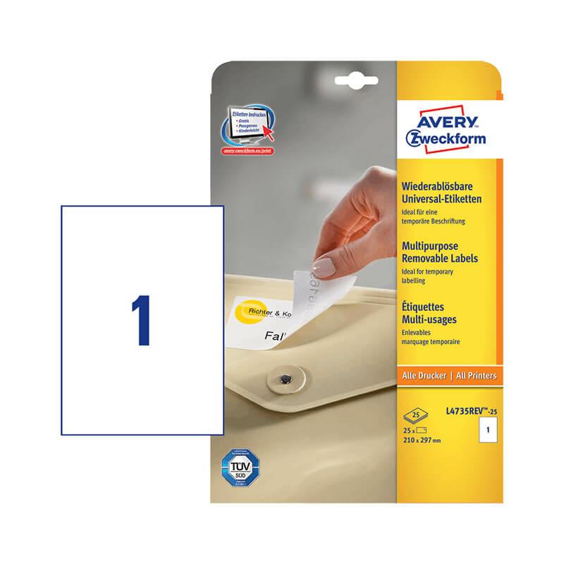 210*297 mm-es Avery Zweckform A4 íves etikett címke, fehér színű (25 ív/doboz)