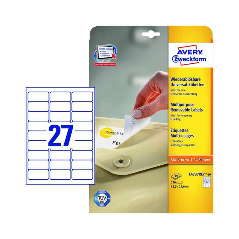 63,5*29,6 mm-es Avery Zweckform A4 íves etikett címke, fehér színű (10 ív/doboz)