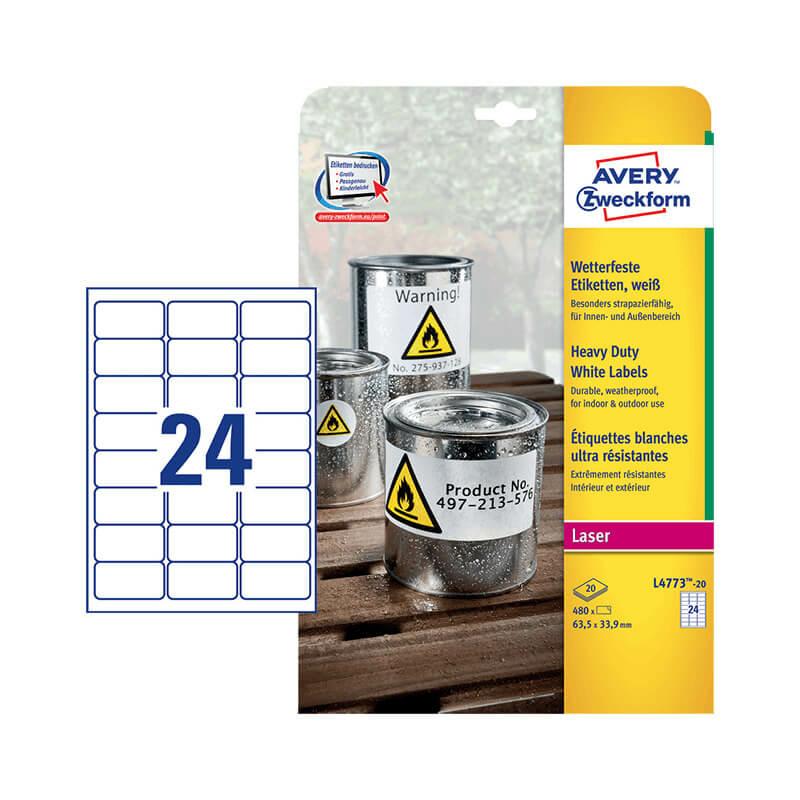 63,5*33,9 mm-es Avery Zweckform A4 íves etikett címke, fehér színű (8 ív/doboz)