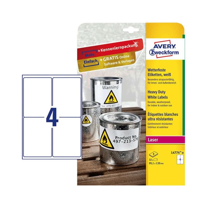 99,1*139 mm-es Avery Zweckform A4 íves etikett címke, fehér színű (8 ív/doboz)