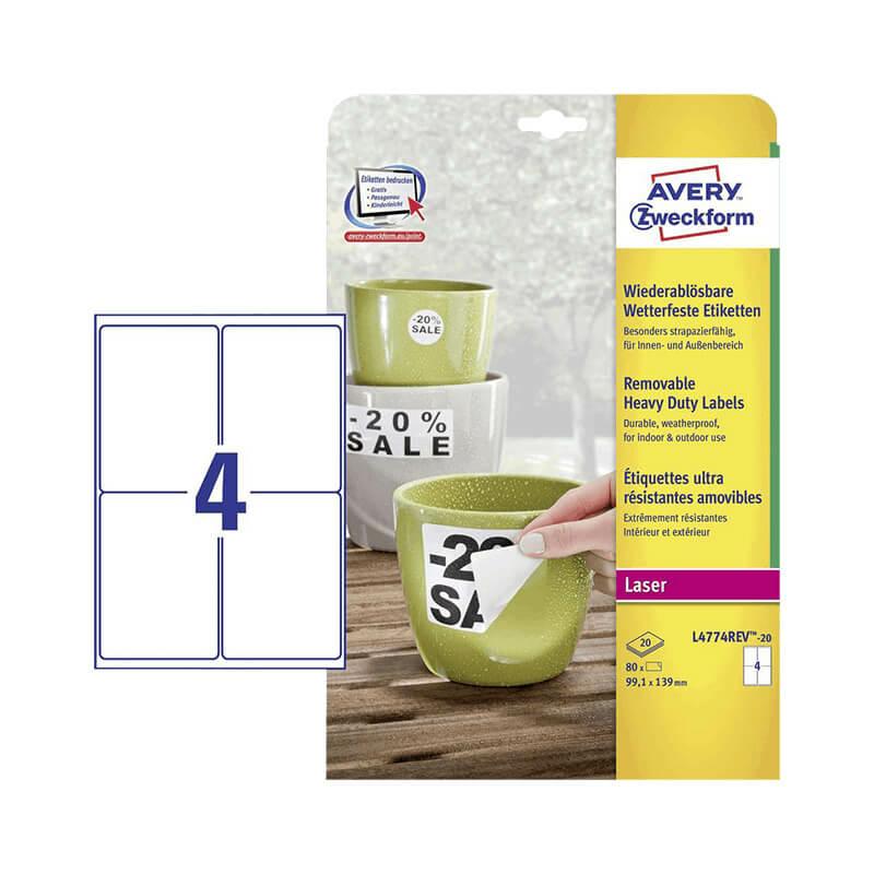 99,1*139 mm-es Avery Zweckform A4 íves etikett címke, fehér színű (20 ív/doboz)