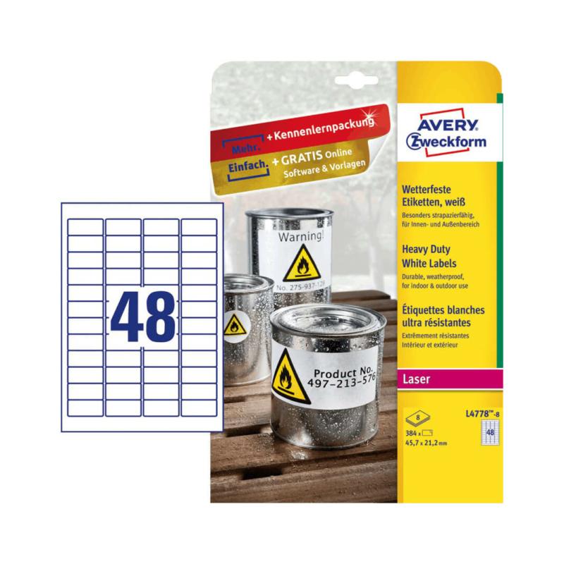 45,7*21,2 mm-es Avery Zweckform A4 íves etikett címke, fehér színű (8 ív/doboz)