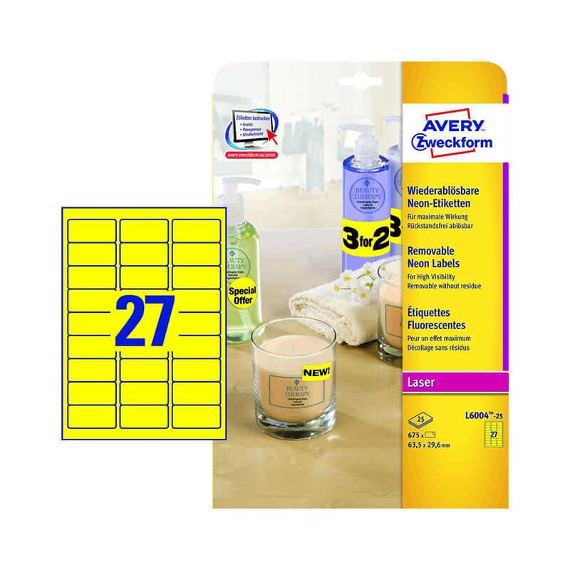 63,5*29,6 mm-es Avery Zweckform A4 íves etikett címke, neon sárga színű (25 ív/doboz)