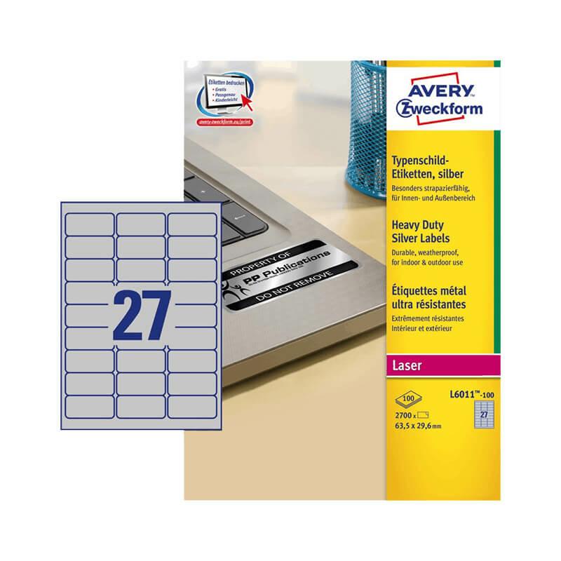 63,5*29,6 mm-es Avery Zweckform A4 íves etikett címke, ezüst színű (100 ív/doboz)