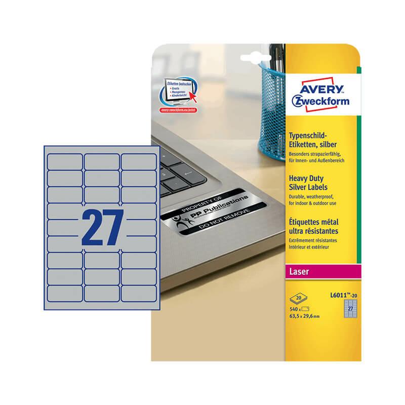 63,5*29,6 mm-es Avery Zweckform A4 íves etikett címke, ezüst színű (20 ív/doboz)