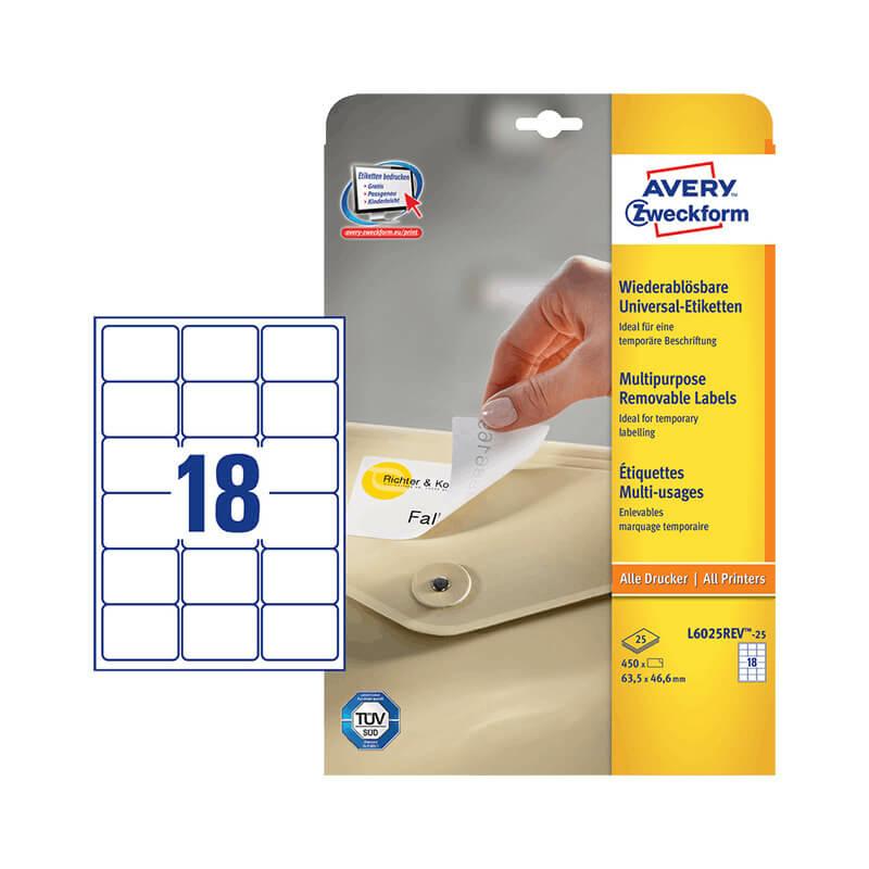 63,5*46,6 mm-es Avery Zweckform A4 íves etikett címke, fehér színű (25 ív/doboz)
