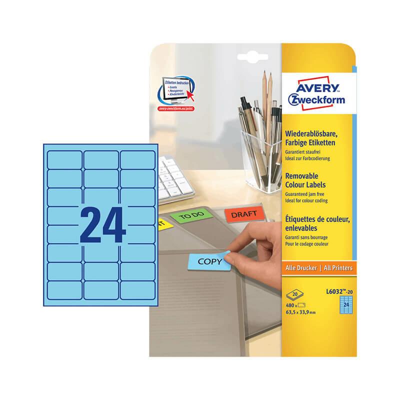 63,5*33,9 mm-es Avery Zweckform A4 íves etikett címke, kék színű (20 ív/doboz)