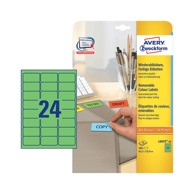 63,5*33,9 mm-es Avery Zweckform A4 íves etikett címke, zöld színű (20 ív/doboz)