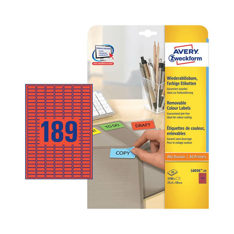 25,4*10 mm-es Avery Zweckform A4 íves etikett címke, piros színű (20 ív/doboz)