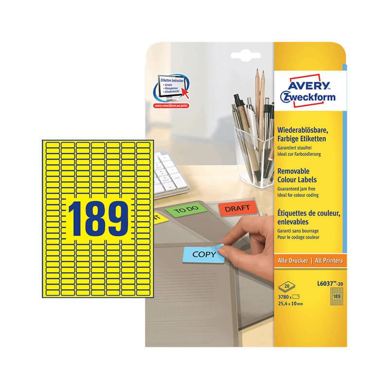 25,4*10 mm-es Avery Zweckform A4 íves etikett címke, sárga színű (20 ív/doboz)