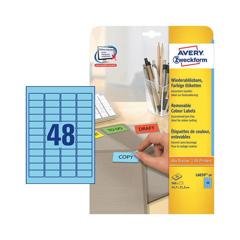 45,7*21,2 mm-es Avery Zweckform A4 íves etikett címke, kék színű (20 ív/doboz)