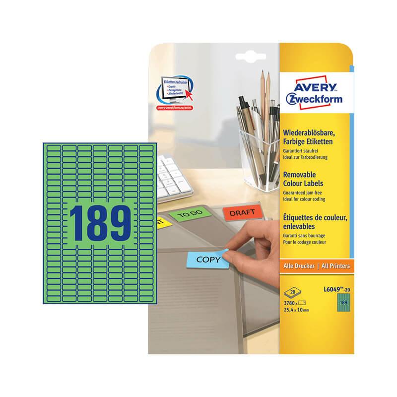 25,4*10 mm-es Avery Zweckform A4 íves etikett címke, zöld színű (20 ív/doboz)