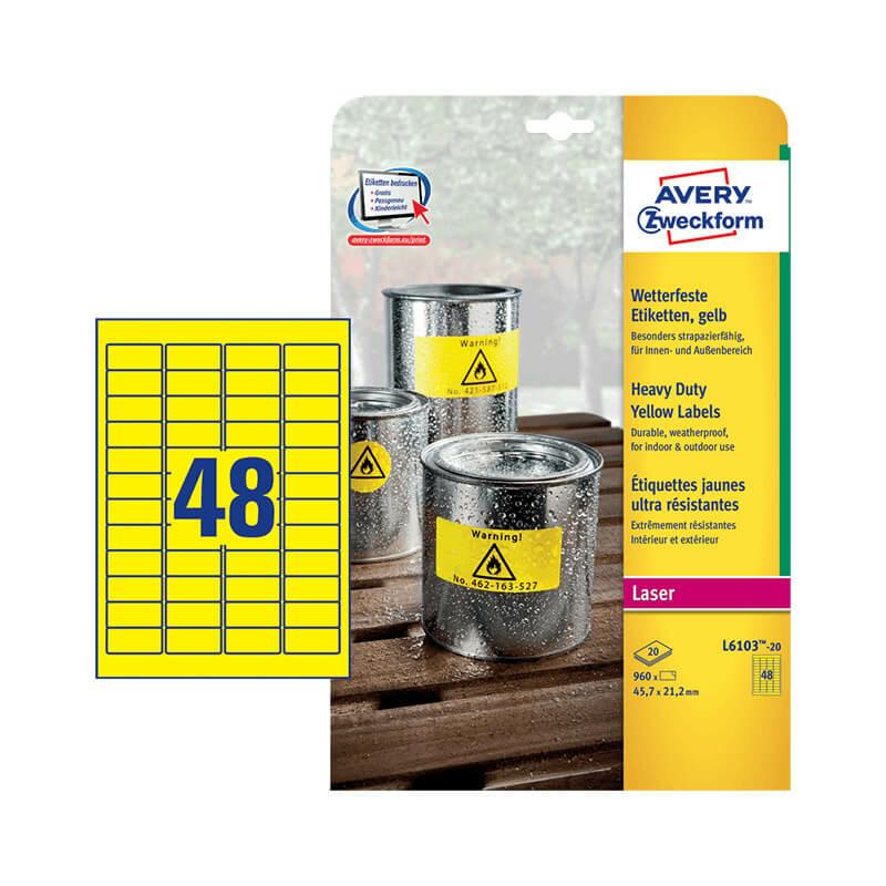 45,7*21,2 mm-es Avery Zweckform A4 íves etikett címke, sárga színű (20 ív/doboz)