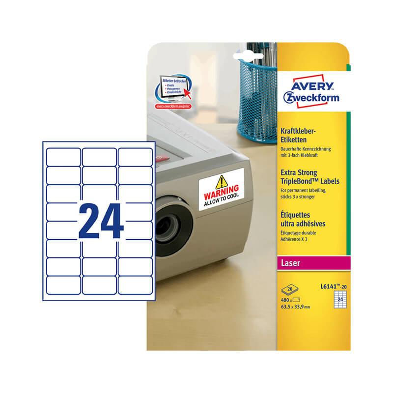 63,5*33,9 mm-es Avery Zweckform A4 íves etikett címke, fehér színű (20 ív/doboz)