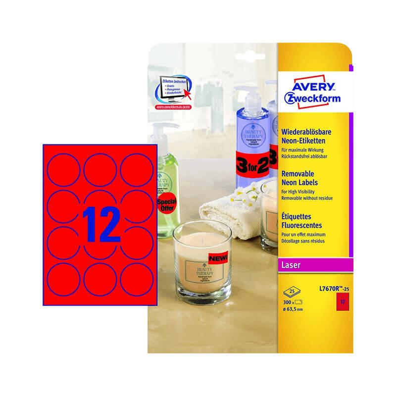 63,5 mm-es Avery Zweckform A4 íves etikett címke, neon piros színű (25 ív/doboz)