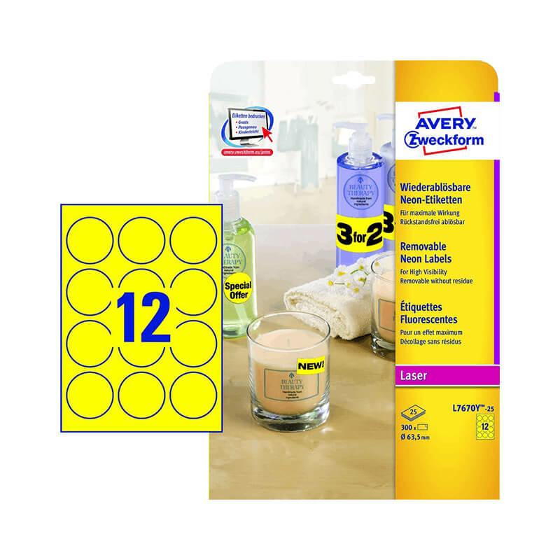 63,5 mm-es Avery Zweckform A4 íves etikett címke, neon sárga színű (25 ív/doboz)