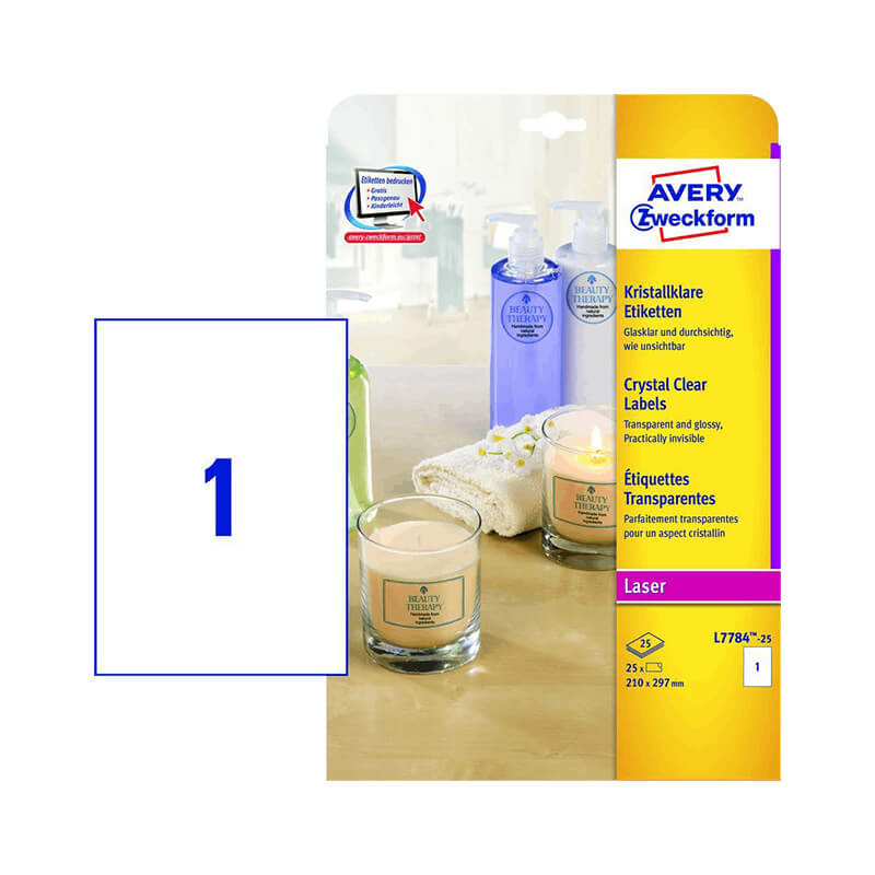 210*297 mm-es Avery Zweckform A4 íves etikett címke, átlátszó (víztiszta) színű (25 ív/doboz)