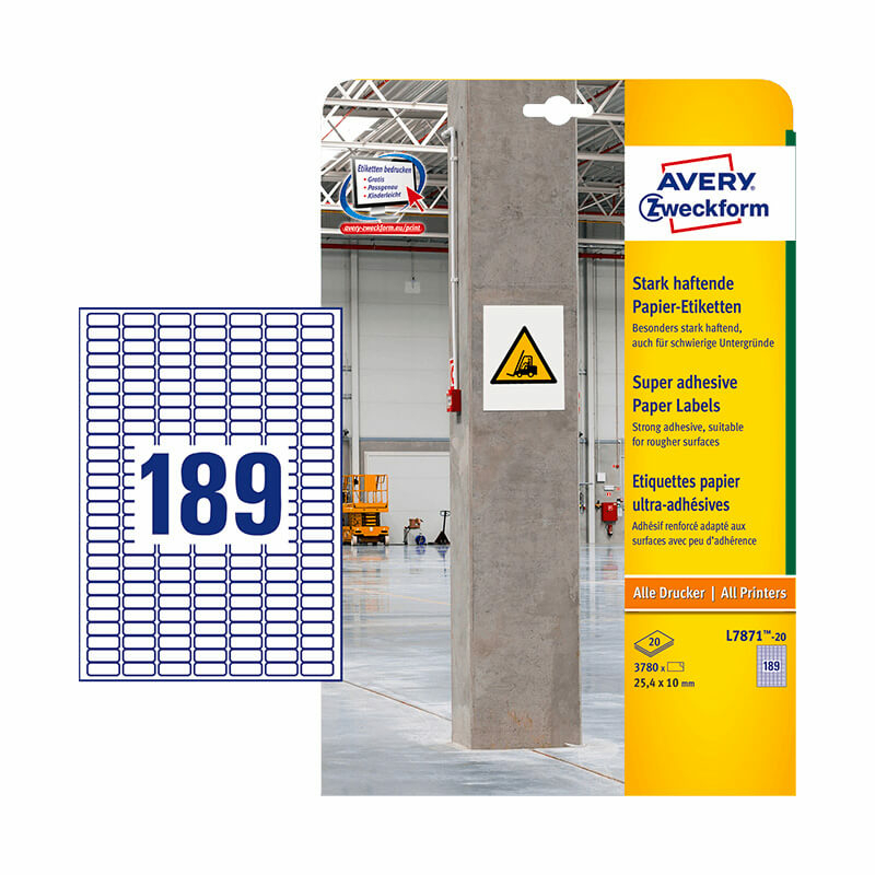 25,4*10 mm-es Avery Zweckform A4 íves etikett címke, fehér színű (20 ív/doboz)