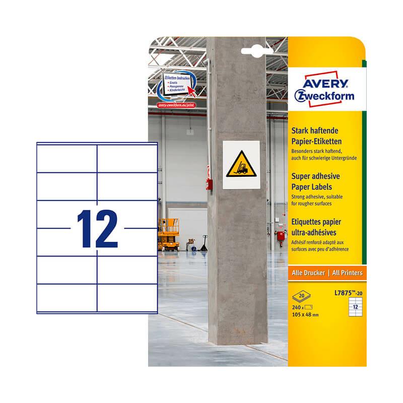 105*48 mm-es Avery Zweckform A4 íves etikett címke, fehér színű (20 ív/doboz)