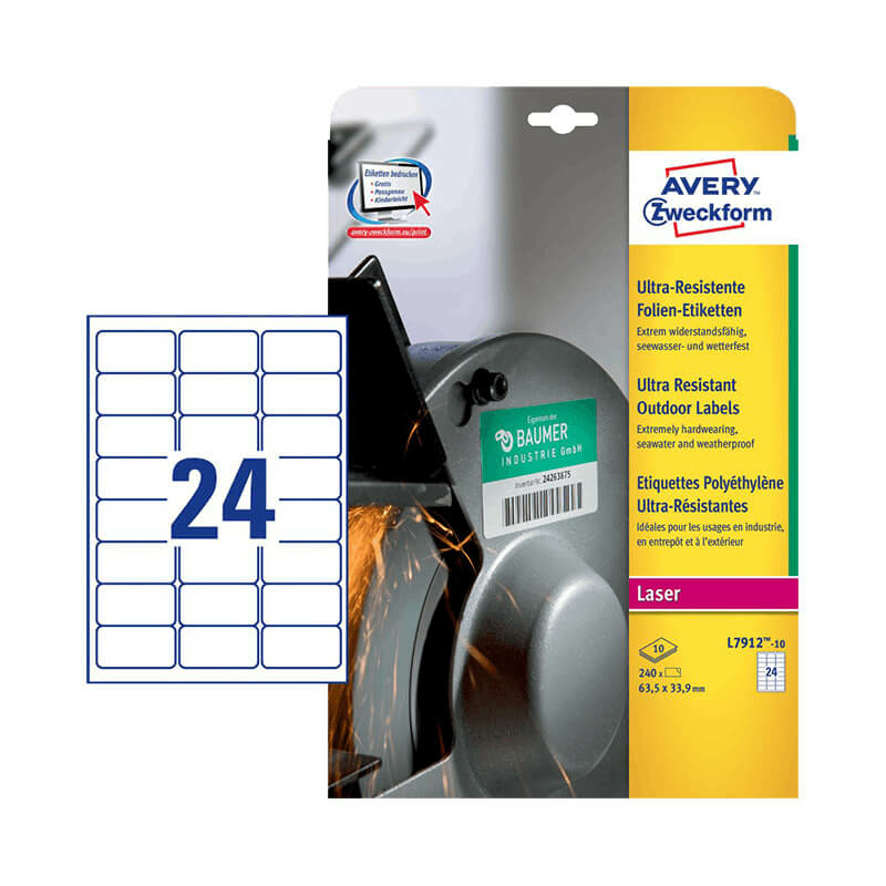 63,5*33,9 mm-es Avery Zweckform A4 íves etikett címke, fehér színű (10 ív/doboz)