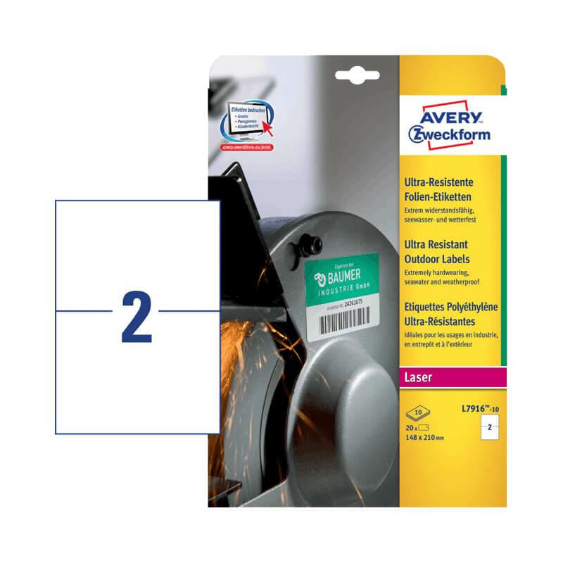 210*148 mm-es Avery Zweckform A4 íves etikett címke, fehér színű (10 ív/doboz)