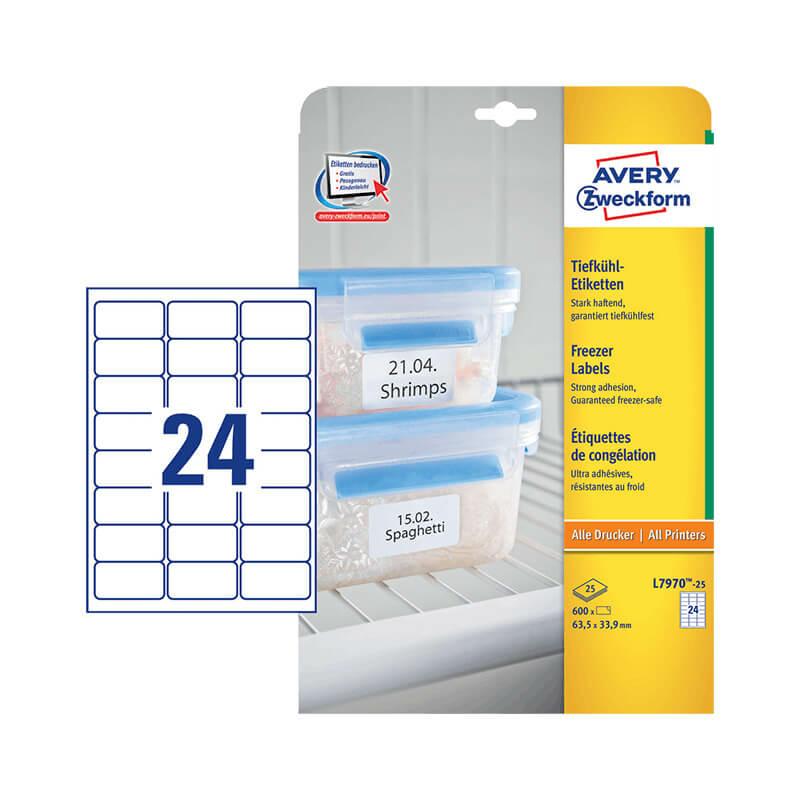 63,5*33,9 mm-es Avery Zweckform A4 íves etikett címke, fehér színű (25 ív/doboz)