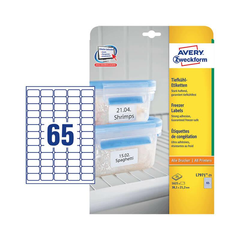 38,1*21,2 mm-es Avery Zweckform A4 íves etikett címke, fehér színű (25 ív/doboz)