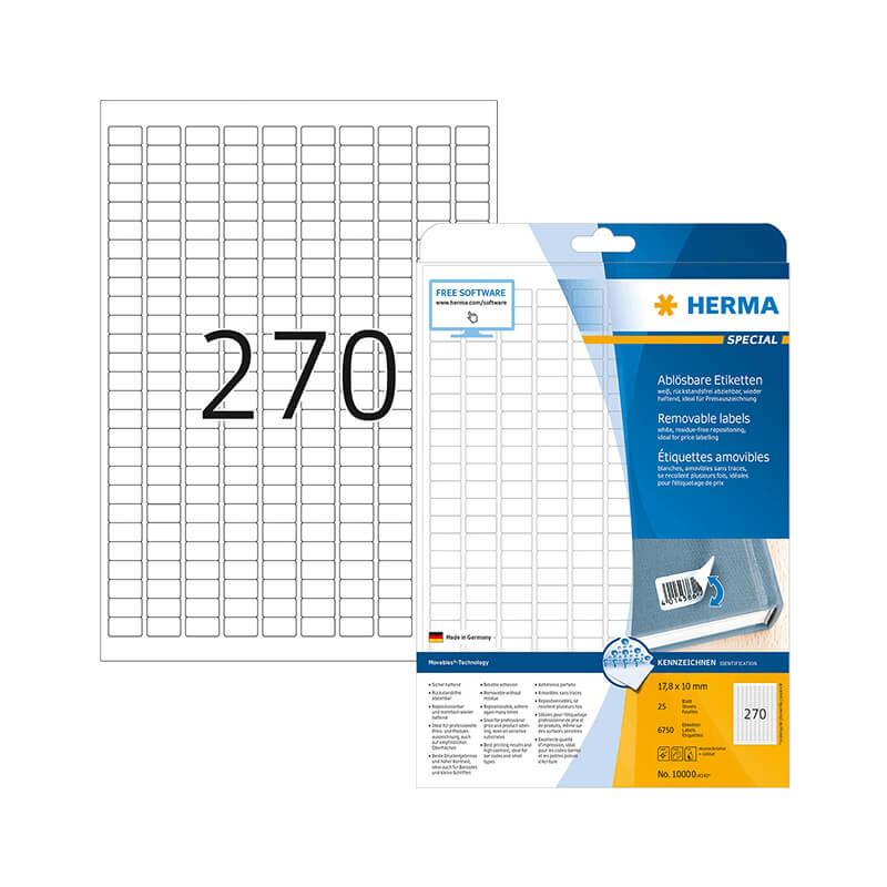 17,8*10 mm-es Herma A4 íves etikett címke, fehér színű (25 ív/doboz)