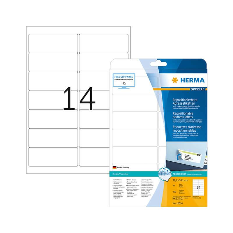 99,1*38,1 mm-es Herma A4 íves etikett címke, fehér színű (25 ív/doboz)