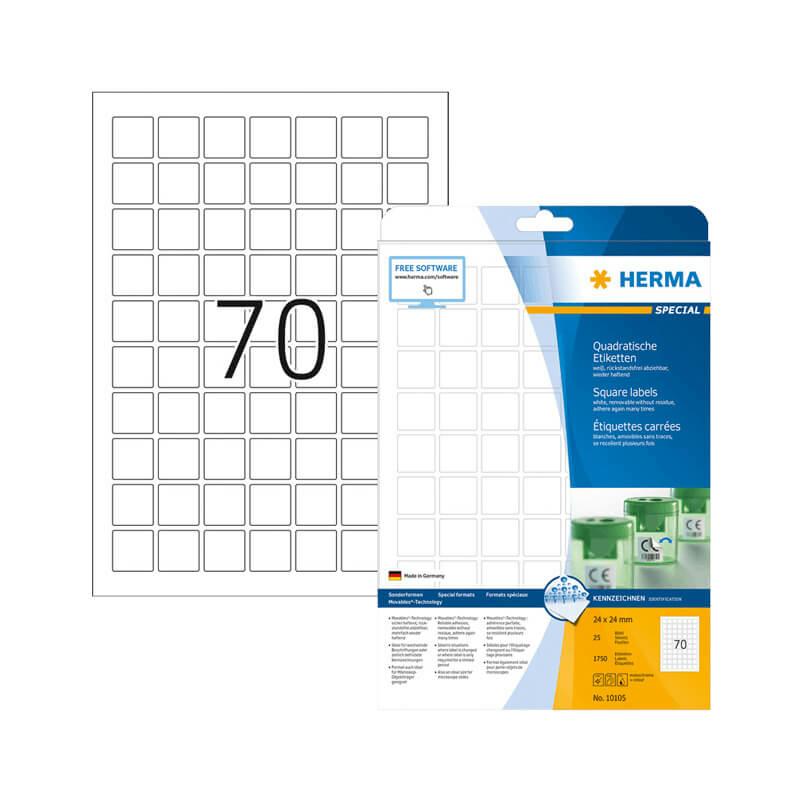24*24 mm-es Herma A4 íves etikett címke, fehér színű (25 ív/doboz)