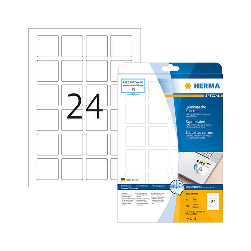 40*40 mm-es Herma A4 íves etikett címke, fehér színű (25 ív/doboz)