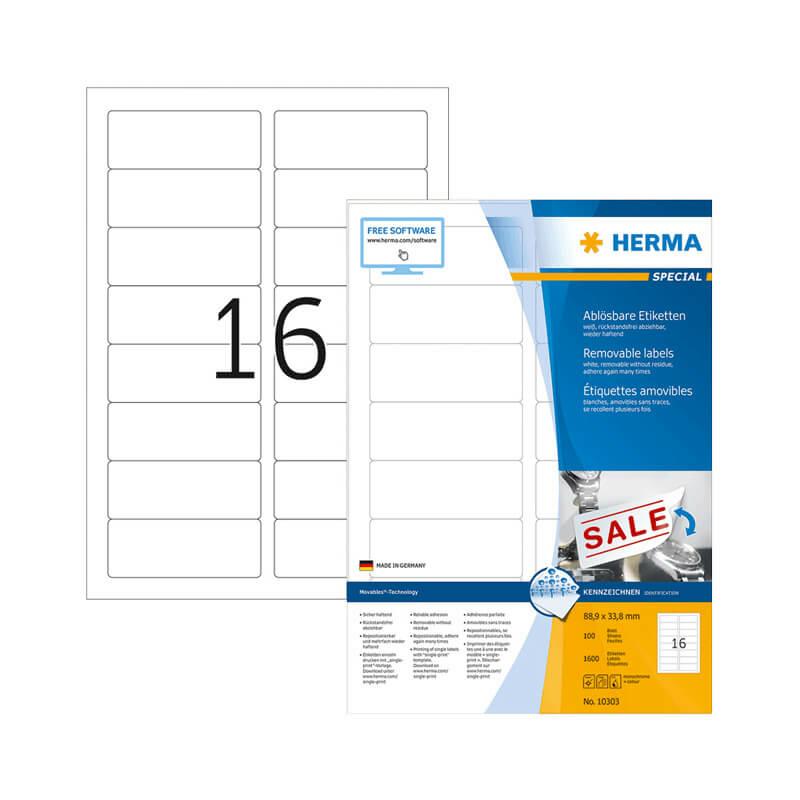 88,9*33,8 mm-es Herma A4 íves etikett címke, fehér színű (100 ív/doboz)