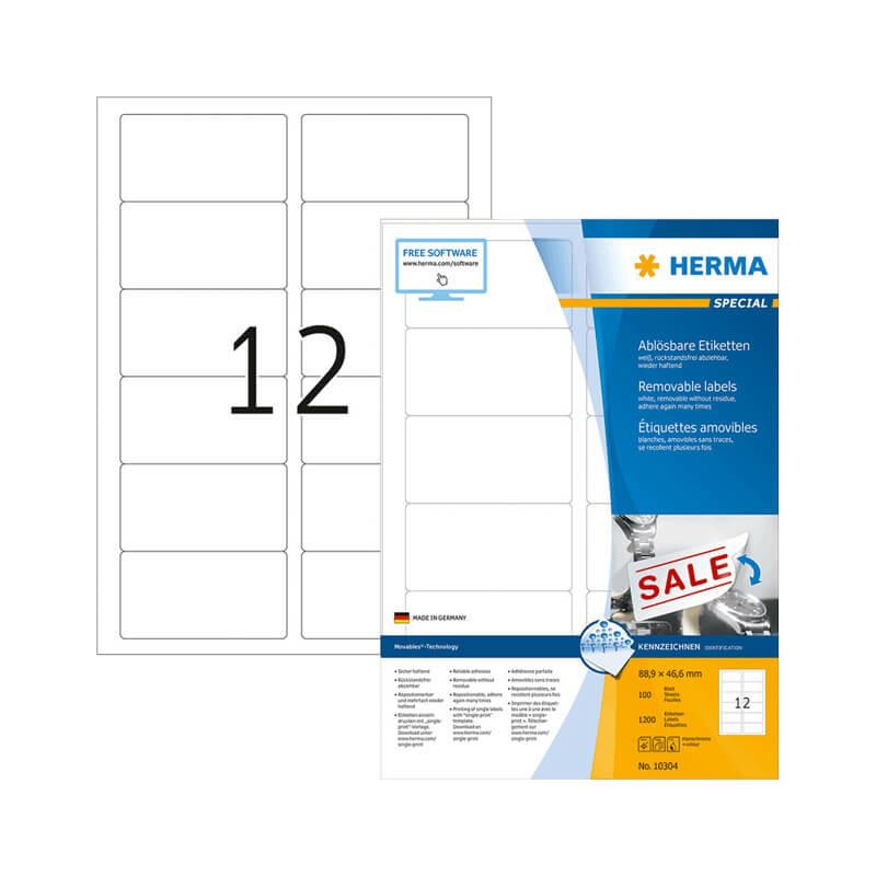 88,9*46,6 mm-es Herma A4 íves etikett címke, fehér színű (100 ív/doboz)