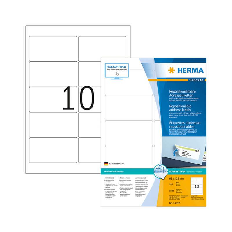 96*50,8 mm-es Herma A4 íves etikett címke, fehér színű (100 ív/doboz)
