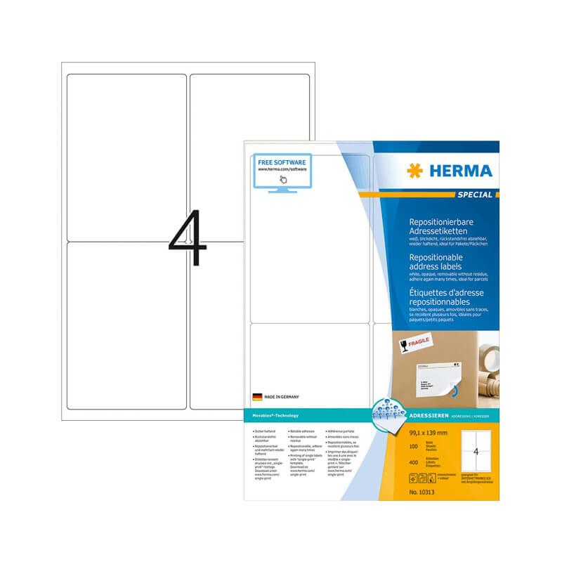 99,1*139 mm-es Herma A4 íves etikett címke, fehér színű (100 ív/doboz)