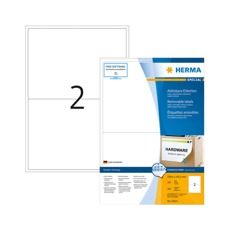 199,6*143,5 mm-es Herma A4 íves etikett címke, fehér színű (100 ív/doboz)