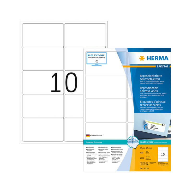 99,1*57 mm-es Herma A4 íves etikett címke, fehér színű (100 ív/doboz)