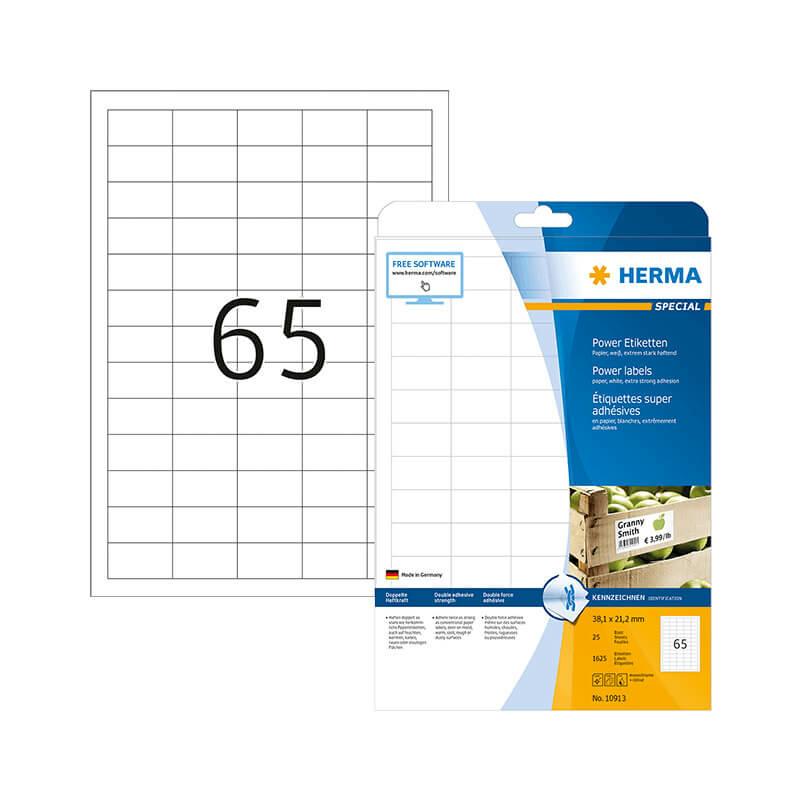 38,1*21,2 mm-es Herma A4 íves etikett címke, fehér színű (25 ív/doboz)