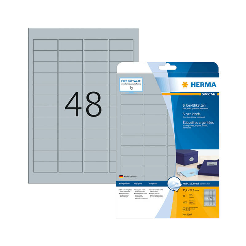 45,7*21,2 mm-es Herma A4 íves etikett címke, ezüst színű (25 ív/doboz)