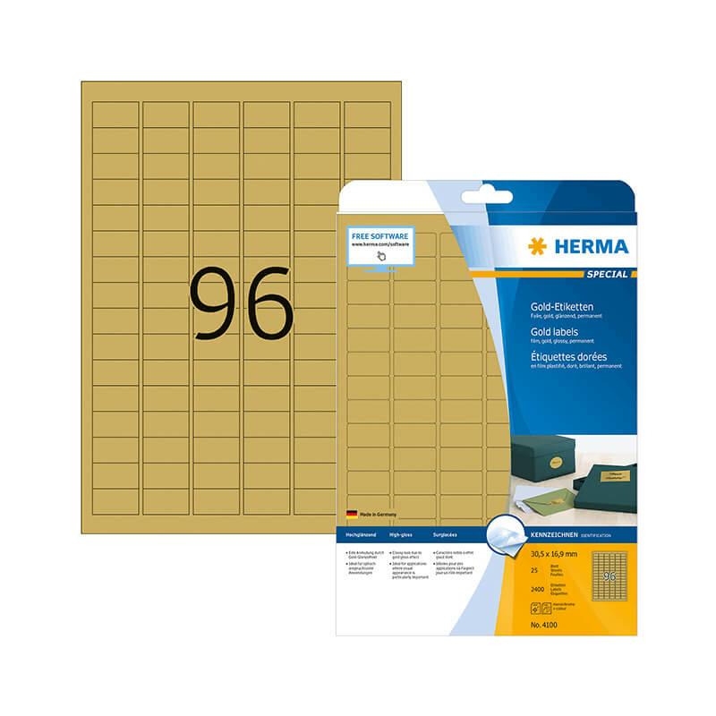 30,5*16,9 mm-es Herma A4 íves etikett címke, arany színű (25 ív/doboz)