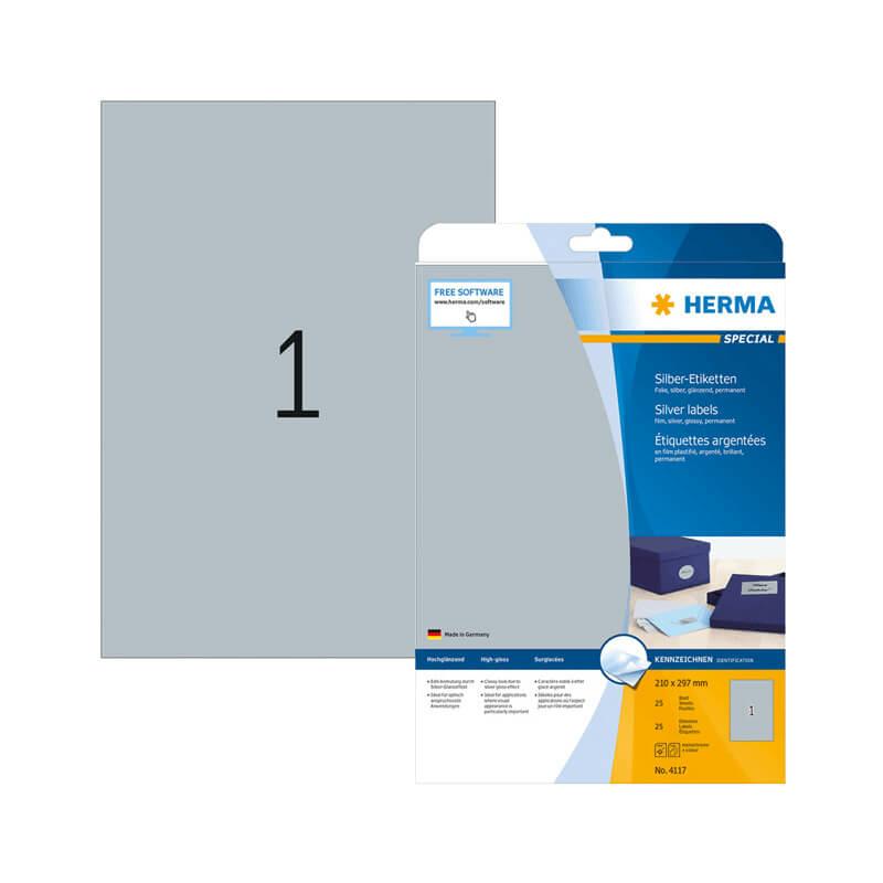 210*297 mm-es Herma A4 íves etikett címke, ezüst színű (25 ív/doboz)