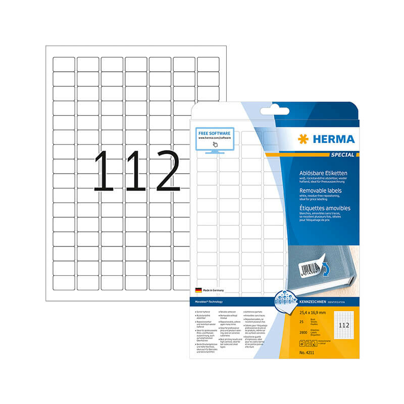 25,4*16,9 mm-es Herma A4 íves etikett címke, fehér színű (25 ív/doboz)