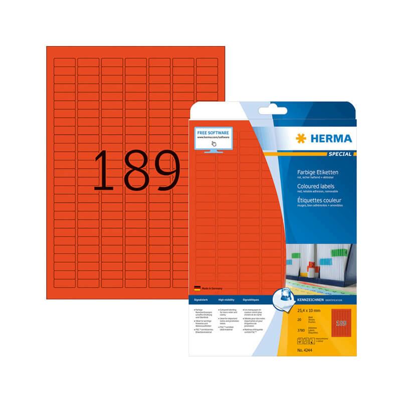 25,4*10 mm-es Herma A4 íves etikett címke, piros színű (20 ív/doboz)